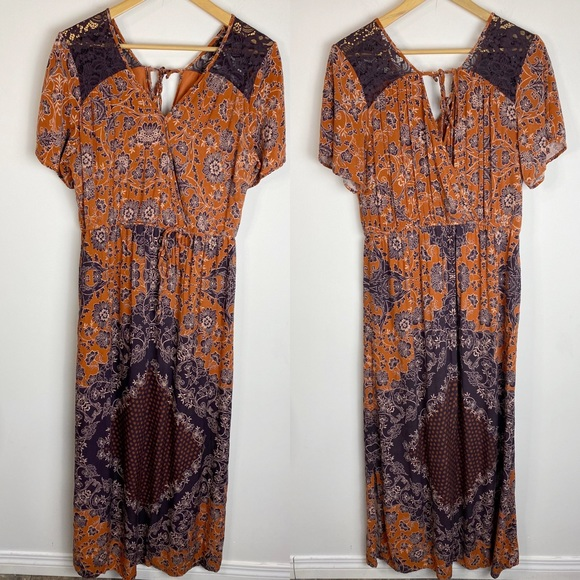 Floral Print Boho Maxi Dress Split Sleeves Size L